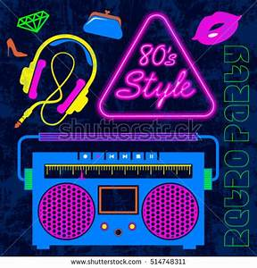80s Retro Neon Style Elements Colorful Stock Vector