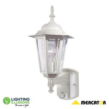 white tilbury exterior wall lantern with sensor lighting