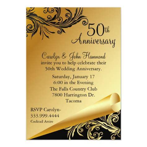 Black & Gold 50th Wedding Anniversary Invitation Zazzle