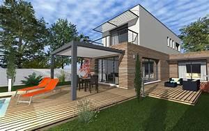 maison moderne bardage bois et toit terrasse maisons With maison bois toit terrasse