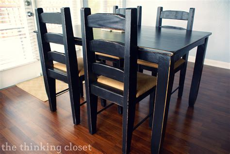black distressed table and chairs black distressed table makeover the thinking closet