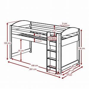 Lit Mezzanine Mi Hauteur : lit mezzanine mi haut maximus 90x190cm graphite fuchsia ~ Teatrodelosmanantiales.com Idées de Décoration