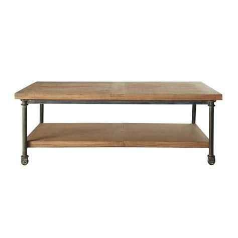 coussins de chaises de jardin table basse à roulettes en manguier et métal l 135 cm