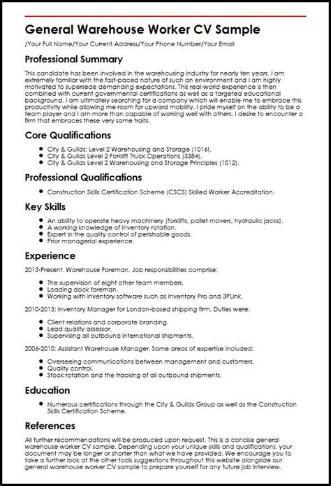 Qualifications For Warehouse Worker Resume by General Warehouse Worker Cv Sle Myperfectcv