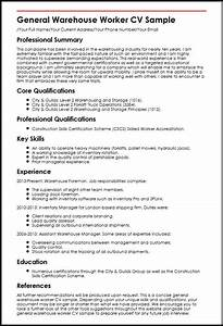 General Warehouse Worker CV Sample