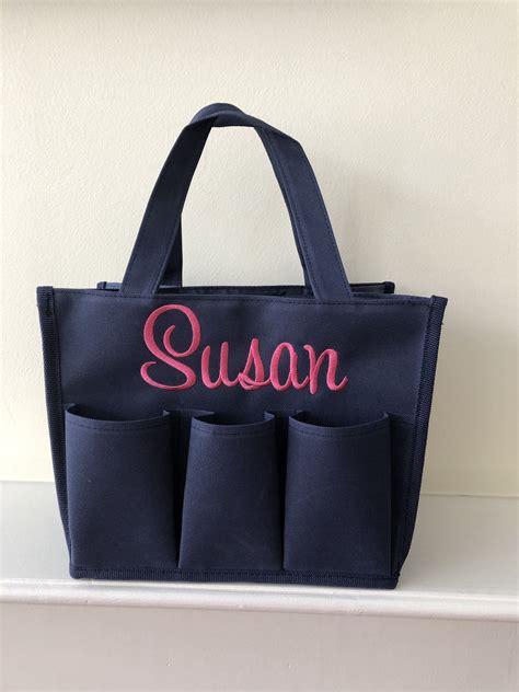 personalized tote monogram bingo bag navy blue pocket tote college dorm room caddy graduation