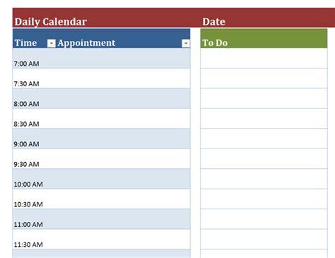 Daily Calendar Template Blank Daily Calendar