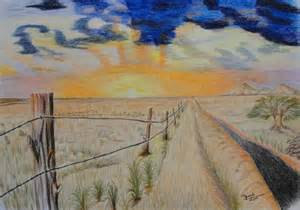 Sunset Colored Pencil Drawings