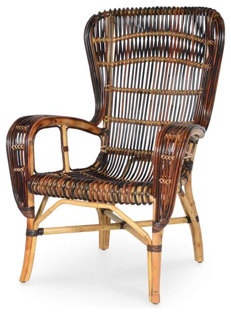retro rattan wing chair multi color tropical armchairs