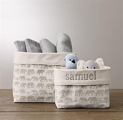 nursery canvas storage grey elephant