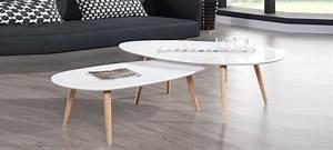 Table Basse Scandinave Blanche : table ovale scandinave ~ Teatrodelosmanantiales.com Idées de Décoration