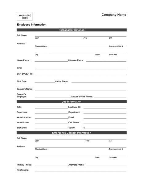 employee information form templates mbo pinterest office templates sle resume and