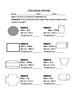 Calculating Density Worksheet By Mr Wagners Science Store Tpt