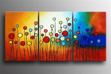 3pcs Colorful Flower Canvas Abstract Painting Print Art: Pinturas Abstractas Coloridas
