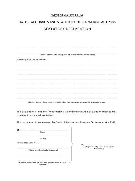 Declaration Document Template by Stat Dec Template Qld Wonderful Stat Dec Template Nsw