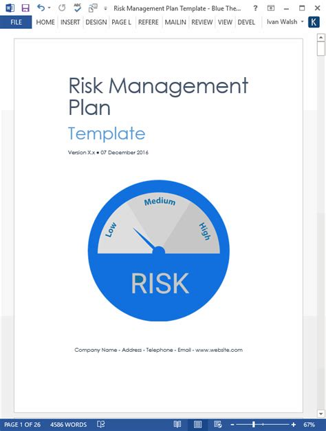 risk management plan template  pg ms word  excel