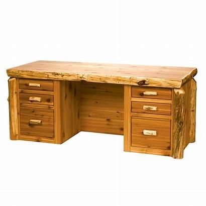 Desk Log Cedar Executive Office Lodge Rustic