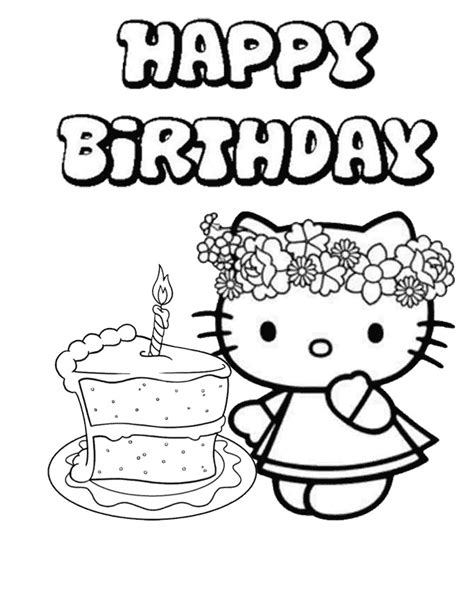 kitty single cake birthday coloring page