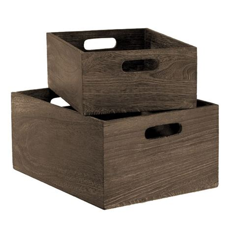 Feathergrain Wooden Storage Bins With Handles  What Would
