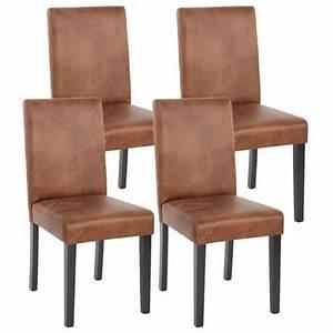 lot de 4 chaises de salle a manger simili cuir marron With meuble salle À manger avec chaise salle a manger en cuir
