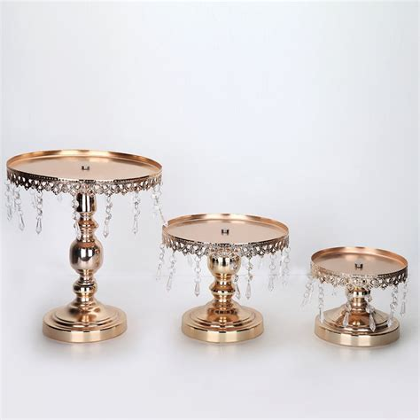 decoration stand 3pcs set wedding decoration gold metal cake stand white