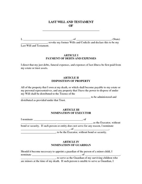 Last Will And Testament Template Last Will And Testament Template Free Printable Documents
