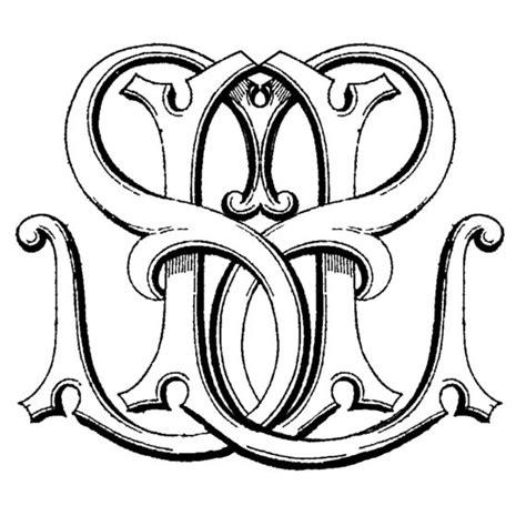 letter monogram intertwined double     design pinterest monograms