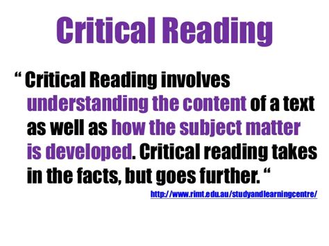 Critical Evaluation Critical Reading & Critical Thinking