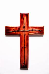 Stained Cedar Cross with Barbwire – Project Hope  Cross