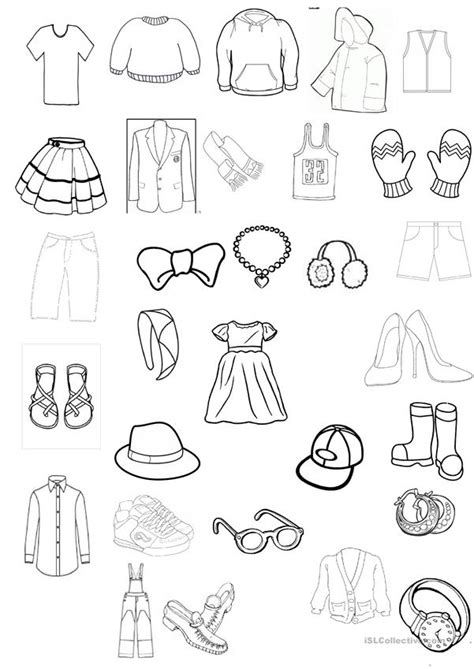 clothing colouring worksheet worksheet  esl