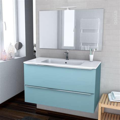 ensemble salle de bains meuble keria bleu plan vasque r 233 sine miroir et 233 clairage l100 5 x h58 5