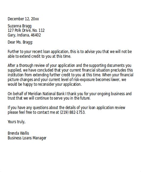 loan rejection letter templates   word  format