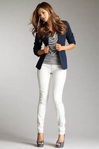 20 Style Tips On How To Wear White Jeans | Navy Blue ...