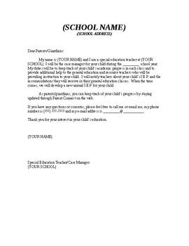 sample iep case manager letter  parents   mosiers