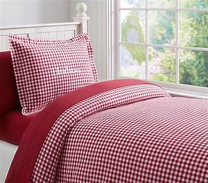 Buffalo Check Flannel Duvet Cover Twin Red Pottery