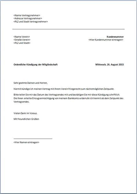 Wie Kann Mieter Kündigen by Kundigung Schreiben Verein K 252 Ndigung Mitgliedschaft