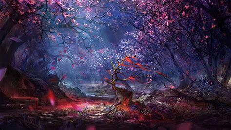 Digital Art Forest Trees Colorful Fantasy Artwork