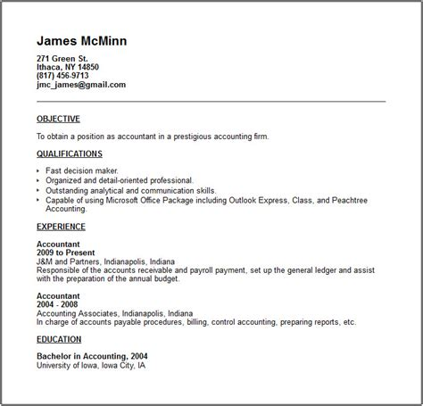 Exle Of Resume For Accounting Position by Accounting Resume Exles And Career Advice