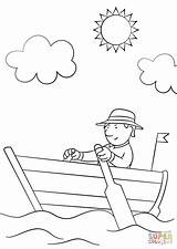 Row Boat Coloring Pages Drawing Wooden Easy Simple Printable Boats sketch template