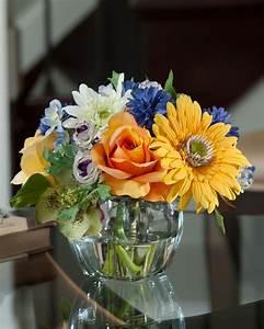 Decorate, Your, Tabletop, With, Gerbera, Rose, U0026, Cornflower, Silk, Flower, Arrangement, At, Petals