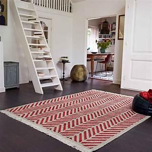Tapis Tissé à Plat Pas Cher : esprit tapis laine chanvre ethno rouge 80 x 150 cm tapis esprit sur maginea ~ Teatrodelosmanantiales.com Idées de Décoration