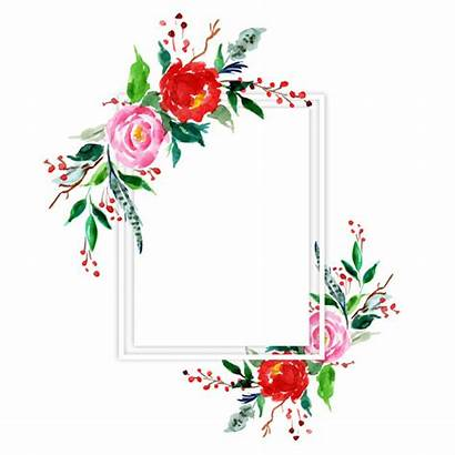 Christmas Frame Floral Merry Vector Premium Watercolor