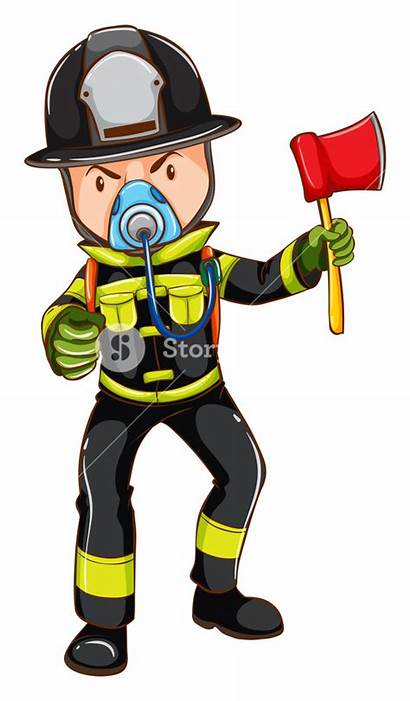 Fireman Sketch Simple Holding Illustration Axe Clipartmag