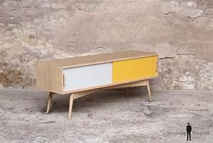 Meuble Scandinave Vintage : petit meuble tv bas scandinave made in france ~ Teatrodelosmanantiales.com Idées de Décoration
