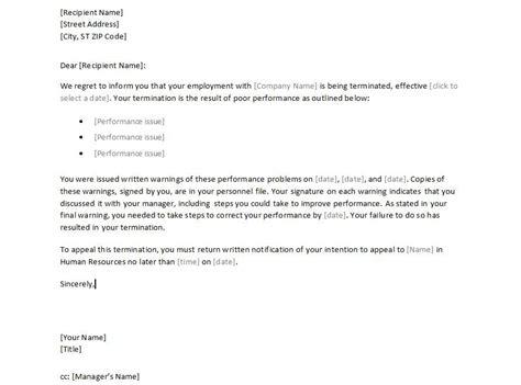 employment termination letter sle employee termination letter template employment 7764