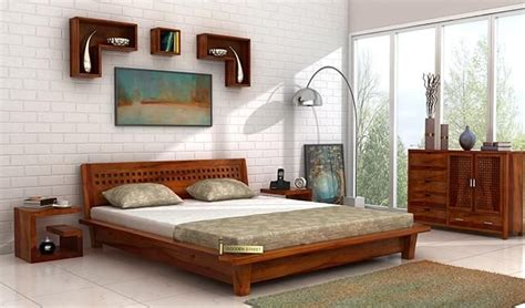 buy carden  floor platform bed king size honey finish