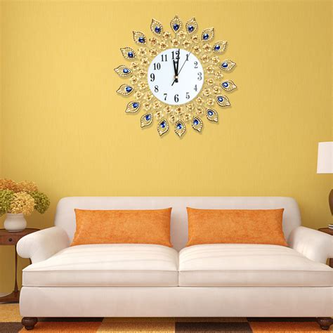 Living Room Wall Clocks Uk by 37cm Diameter Luxury Gold Peacock Frame Large Wall