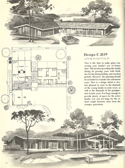 vintage house plans  houses mid century homes modern house plans vintage house plans