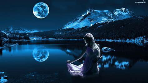 niebo jezioro ksiezyc noc dziewczyna las gory