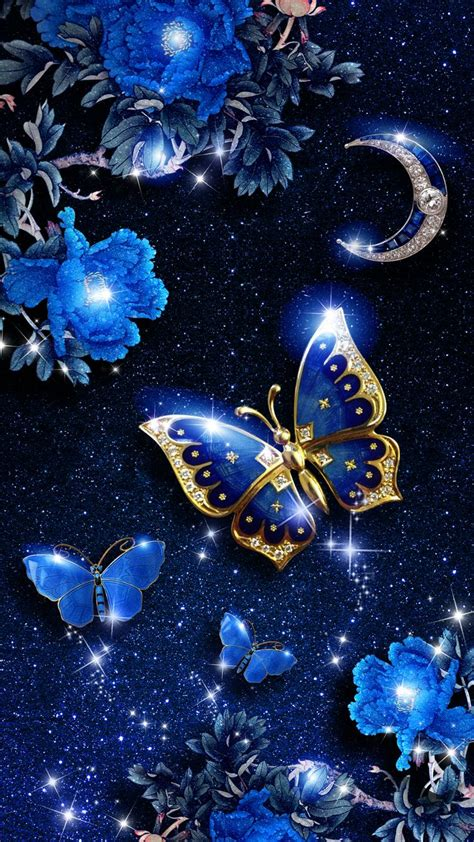 elegant blue butterfly  wallpaper android